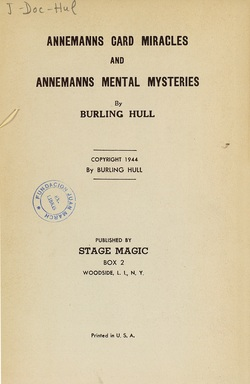 Ver ficha del libro: ANNEMANNS CARD MIRACLES AND ANNEMANNS MENTAL MYSTERIES