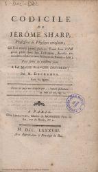 Ver ficha del libro: CODICILE DE JÉRÔME SHARP: OU L'ON TROUVE PARMI PLUSIEURS TOURS