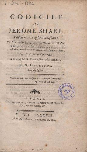 Book : Codicile de Jérôme Sharp: ou l'on trouve parmi plusieurs Tours