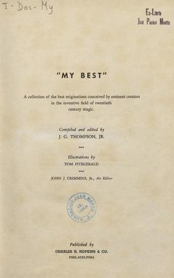 Ver ficha del libro: MY BEST: A COLLECTION OF THE BEST ORIGINATIONS CONCEIVED BY EMINENT CREATORS