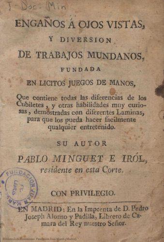 Book : Engaños a ojos vistas, y diversión de trabajos mundanos, fundada en licitos juegos de manos