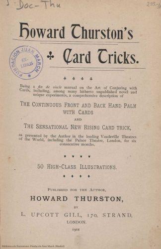 Book : Howard Thurston's card tricks