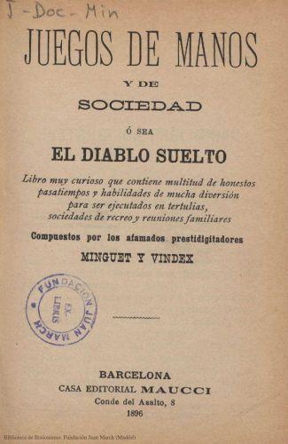 Book : Juegos de manos y de sociedad ó sea El diablo suelto