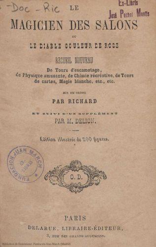 Book : Le magicien des salons ou Le diable couleur de rose: recueil nouveau de tours d'escamotage, de physique amusante