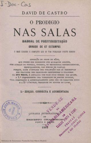 Book : O prodigio nas salas: manual de prestidigitaçao ornado de 67 estampas
