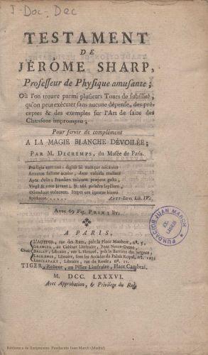 Libro : Testament de Jérôme Sharp