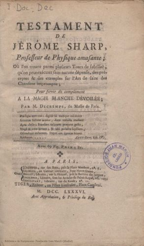 Book : Testament de Jérôme Sharp
