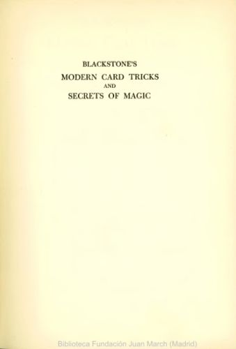 Book : Blackstone's modern card tricks and secrets of magic