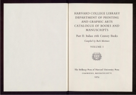 Harvard College Library, Department of Printing and Graphic Arts catalogue of books and manuscripts