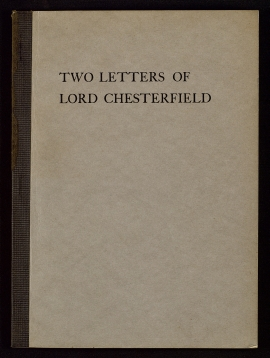 Two letters of Lord Chesterfield