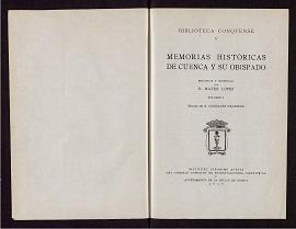 Memorias históricas de Cuenca y su Obispado