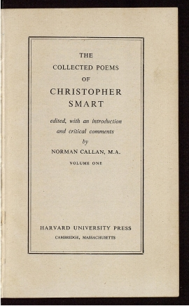 The Collected poems of Christopher Smart