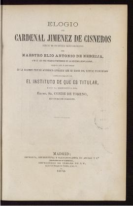 Elogio del Cardenal Jiménez de Cisneros