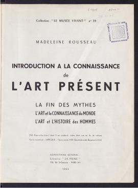 Introduction a la connaissance de l'art présent