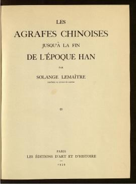 Les Agrafes chinoises jusqu'à la fin de l'époque Han